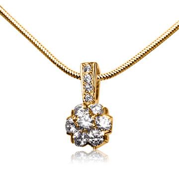 Золотой кулон-цветок с бриллиантами «Fortunata»