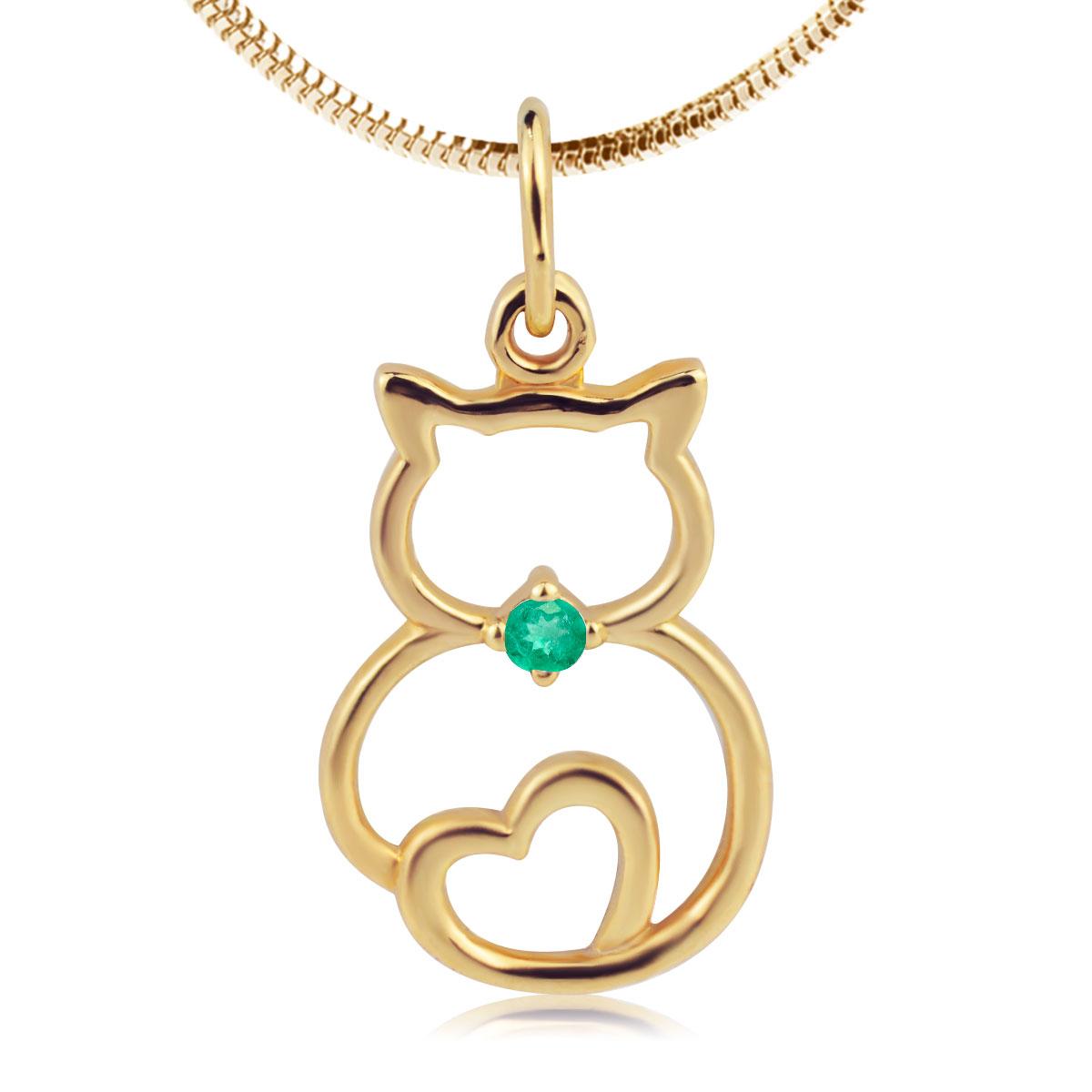 Золотая подвеска «Кот и сердце» с изумрудом