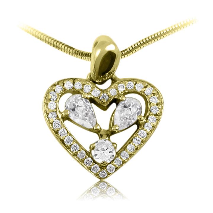 Золотой кулон сердце с камнями