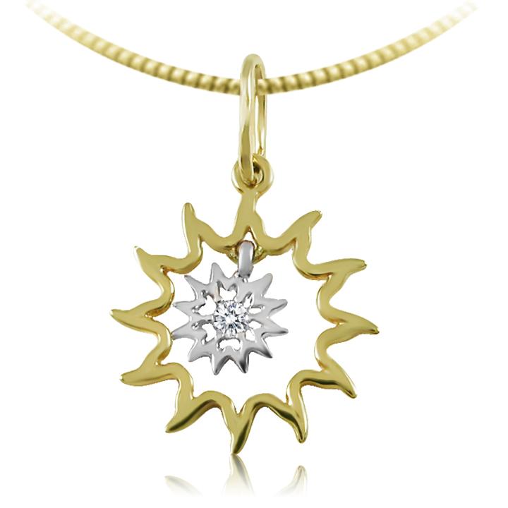 Золотий кулон оберіг з діамантом «Сонце»