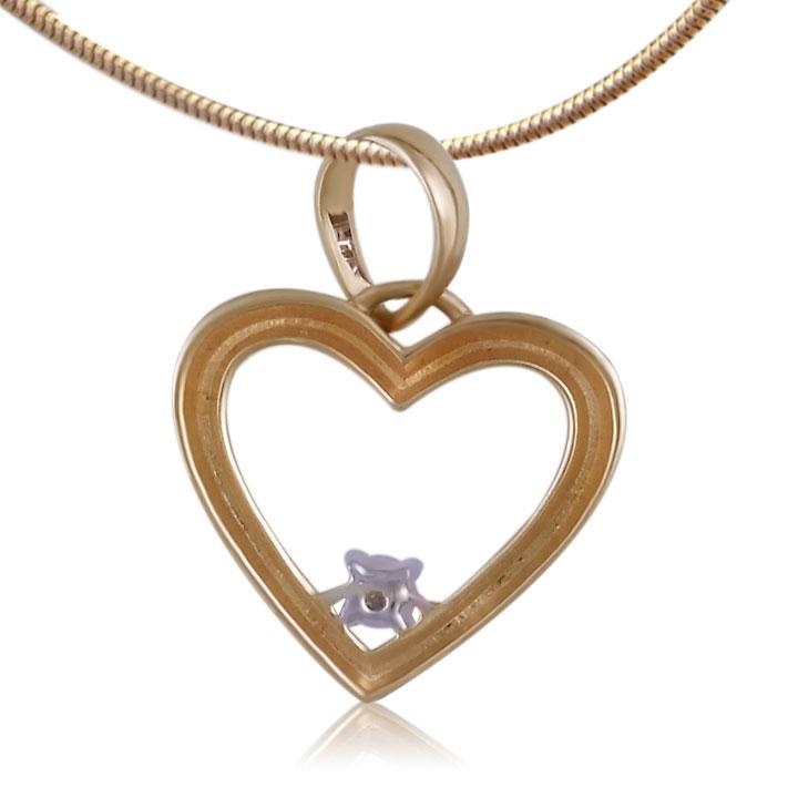 Золотой кулон сердце с бриллиантом «Любовь в сердце»