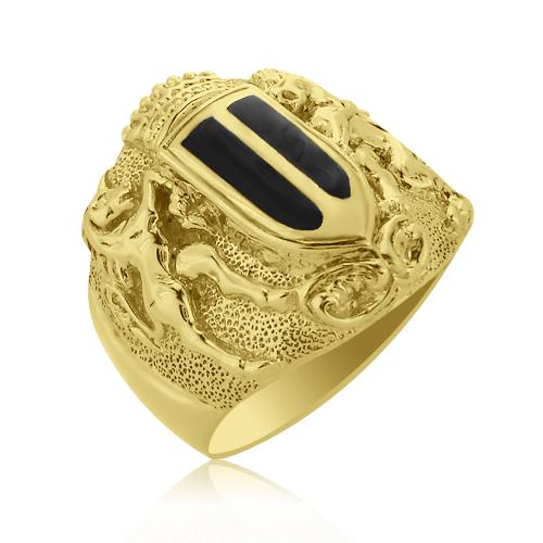 Золотая печатка с эмалью