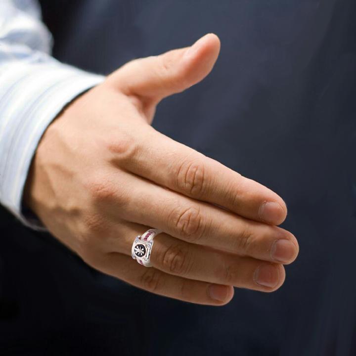 Чоловічий перстень з рубінами і діамантами - 3 Карата