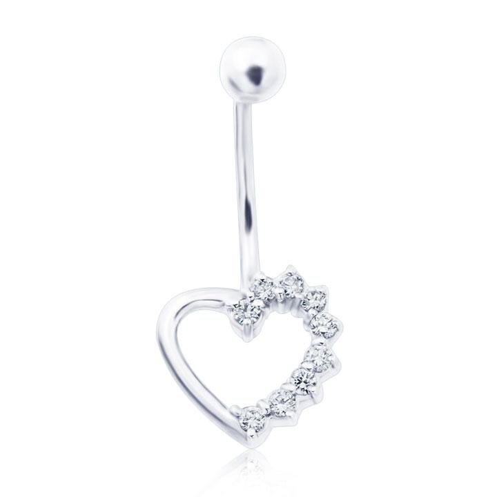 Золотой пирсинг сердечко с бриллиантами «9 жизней»