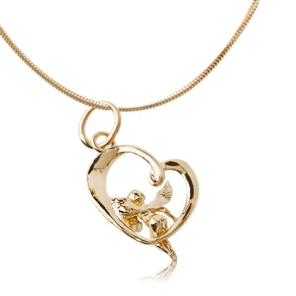 Золотой подвес с бриллиантом «Ангел и сердце»