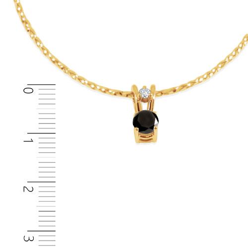 Золотий кулон з чорним і білим діамантом «Ягідка»