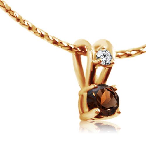 Золота підвіска з раухтопазом та діамантом «Ягідка»