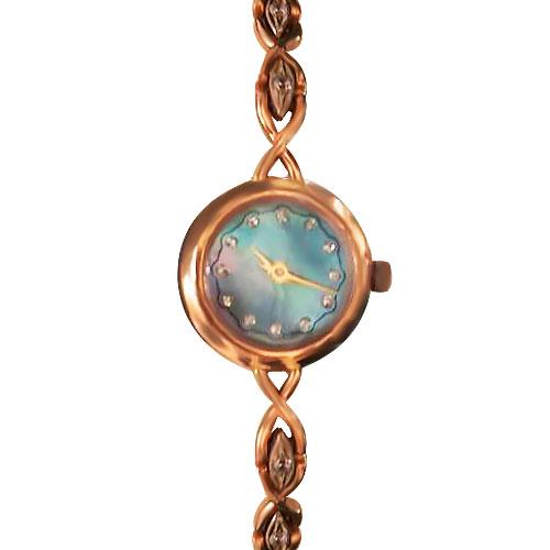 Золотые часы женские с фианитами «Lady Time»
