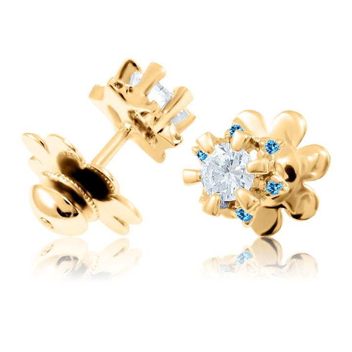 Золотые пусеты с цирконием и топазами «Flora»