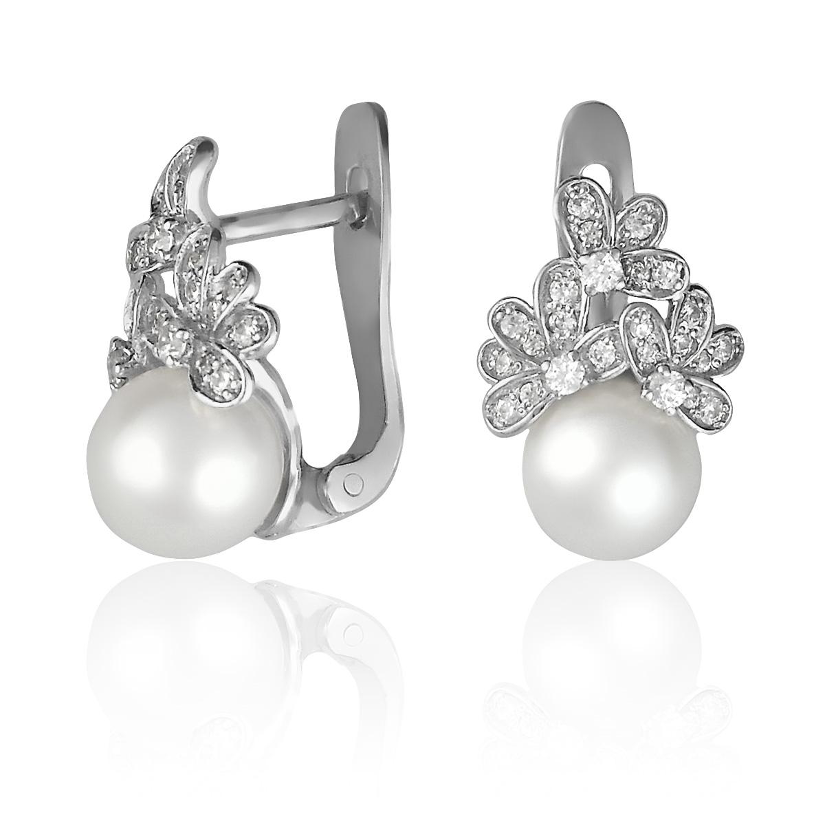 Сережки з морськими перлами і каменями Сваровські «Марина»