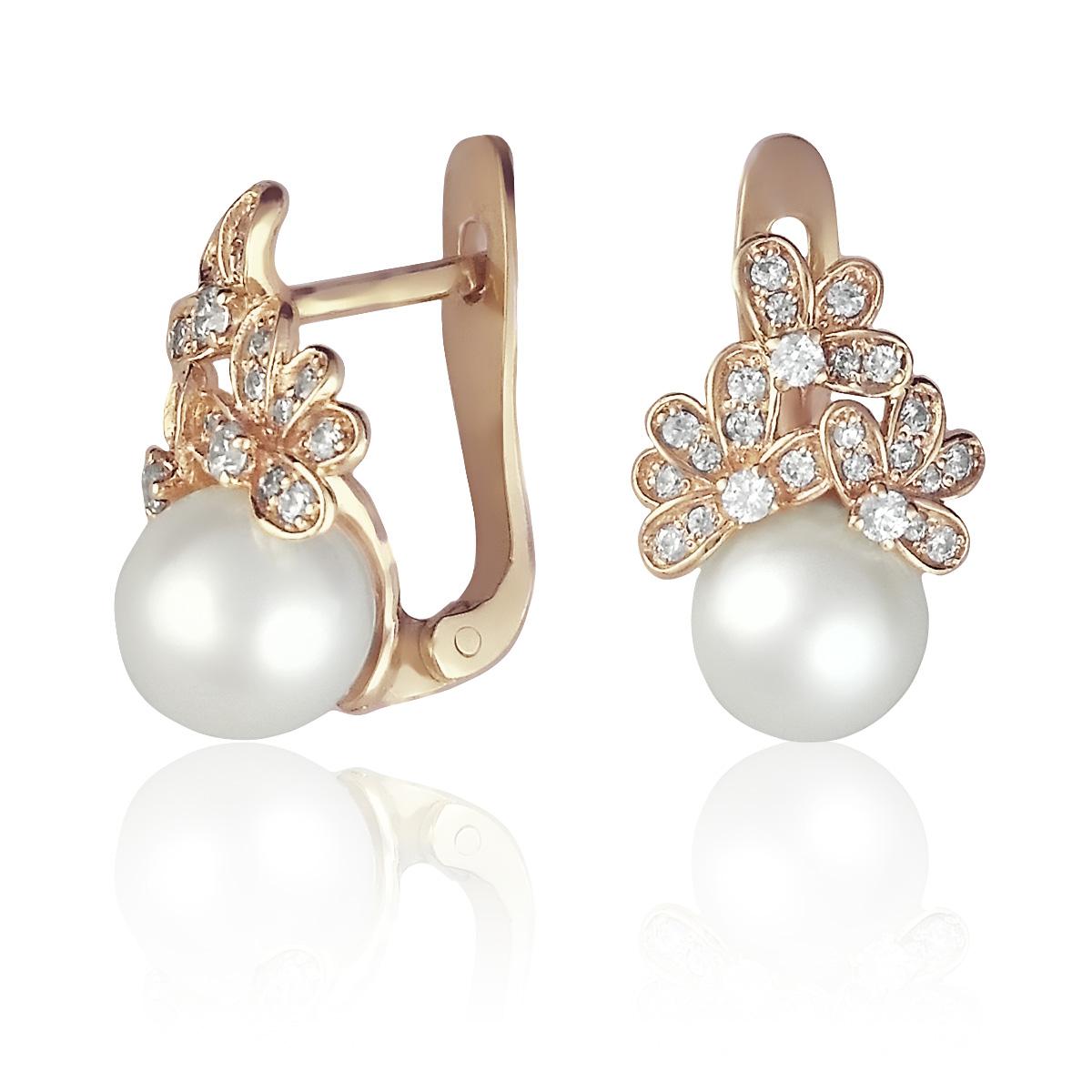 Сережки з перлами і каменями Сваровські «Марина»