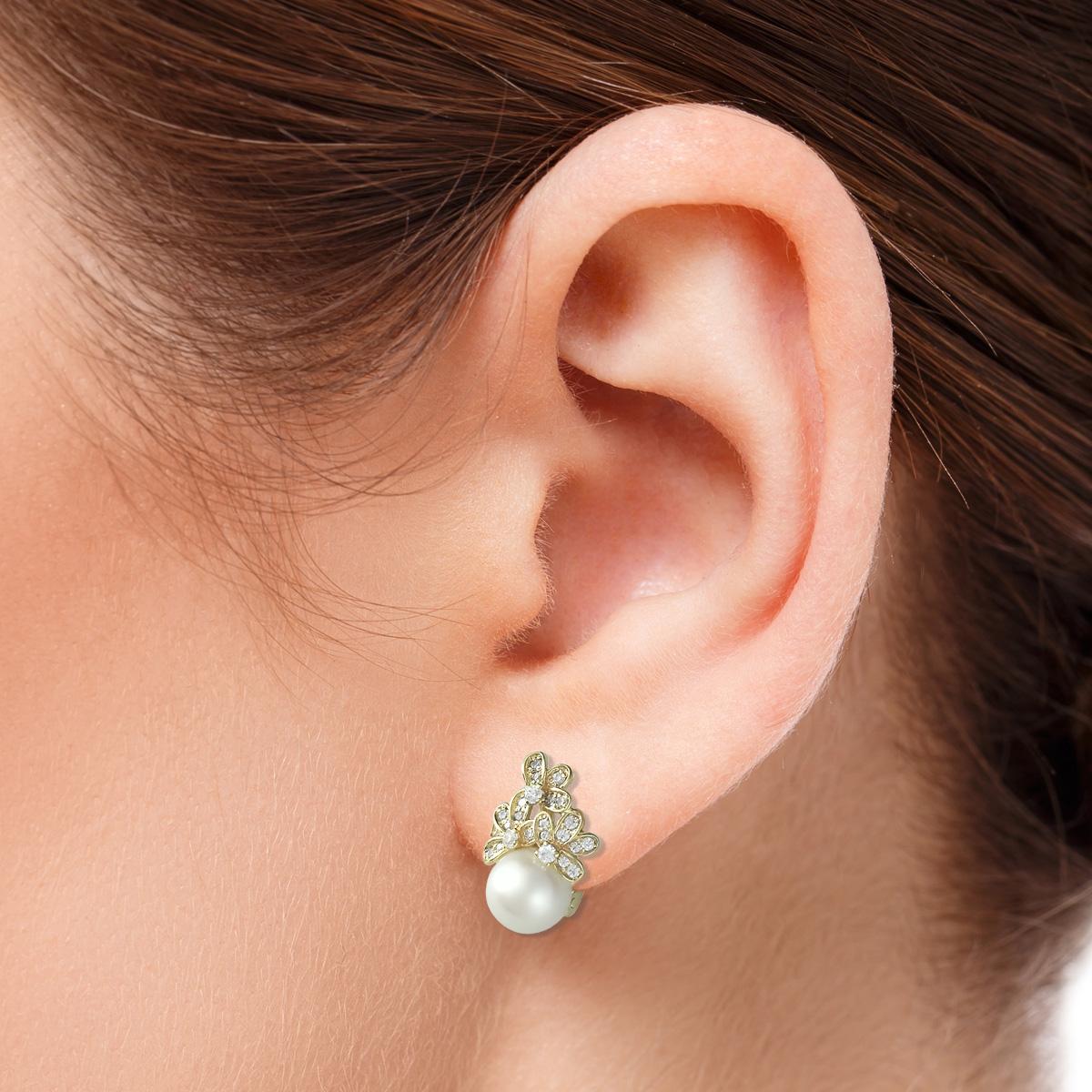 Серьги с морским жемчугом и бриллиантами «Марина»