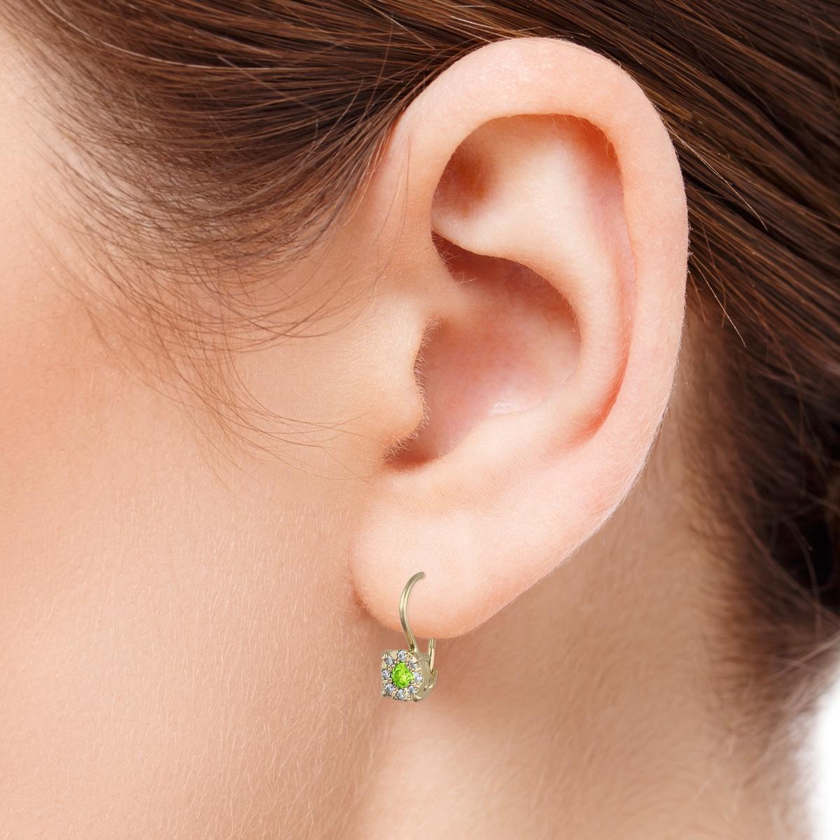 Небольшие серьги с зеленым хризолитом «Фиона»