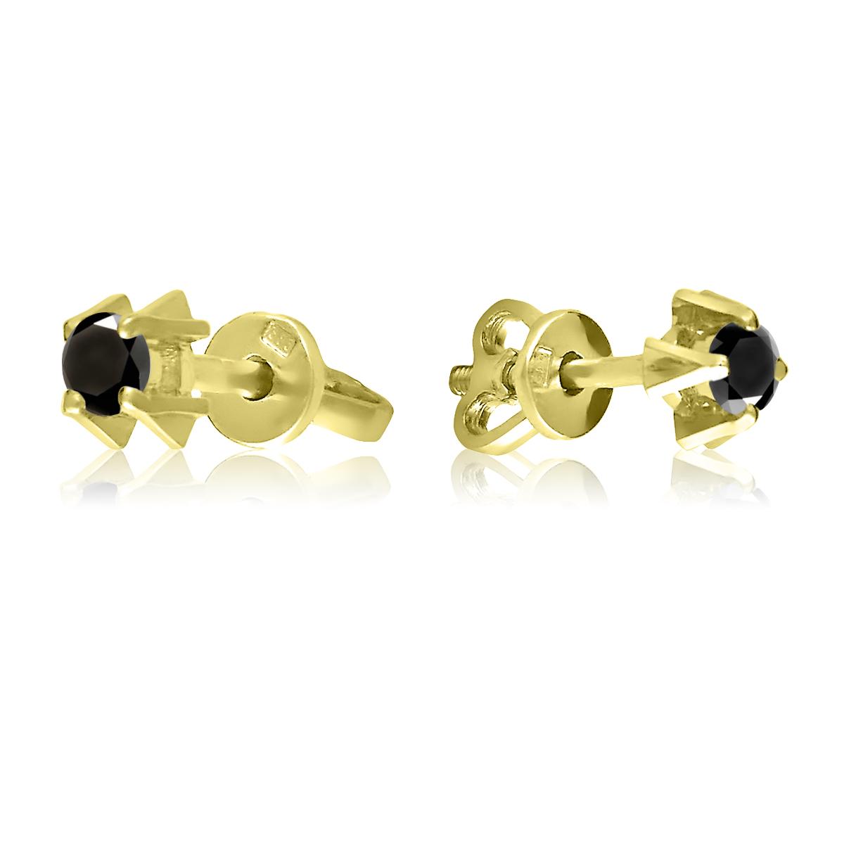 Сережки пусети з чорними діамантами по 0,1 Ct «Луїза»