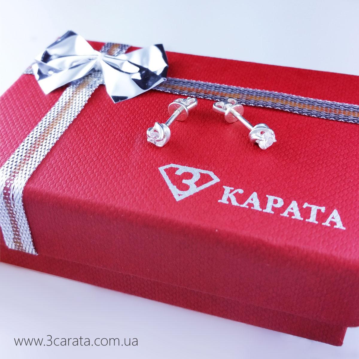 Золоті сережки гвоздики зі Сваровські «Pilar»