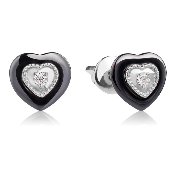 Золотые серьги пусеты из ювелирного фарфора с бриллиантами «Нежное сердце»