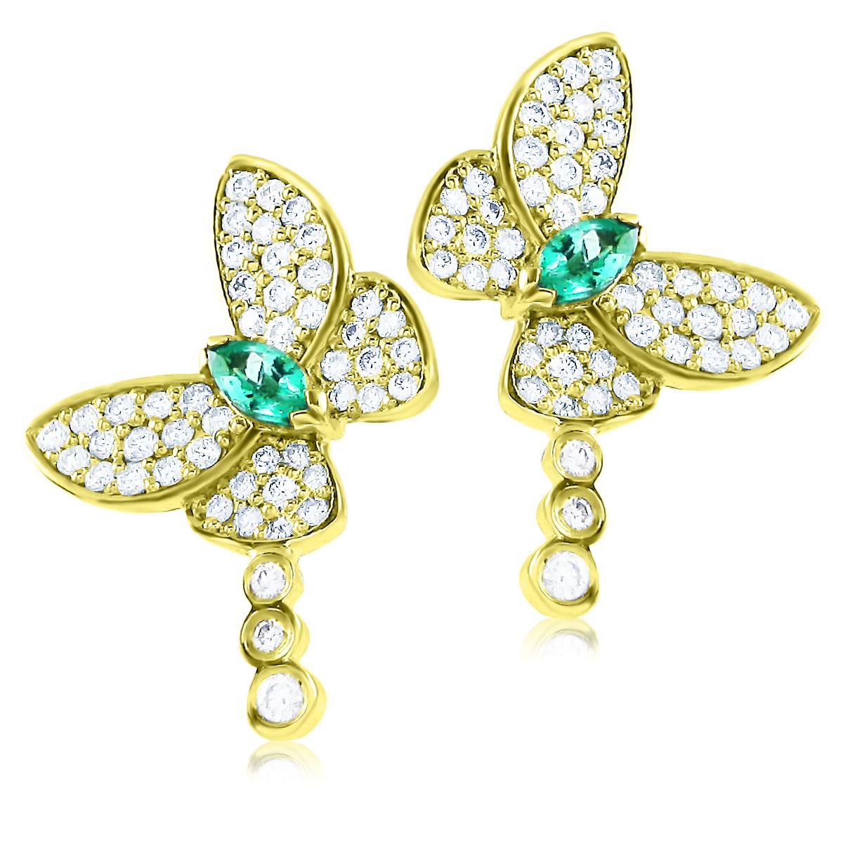 Серьги пусеты с изумрудом «Райские бабочки» в золоте