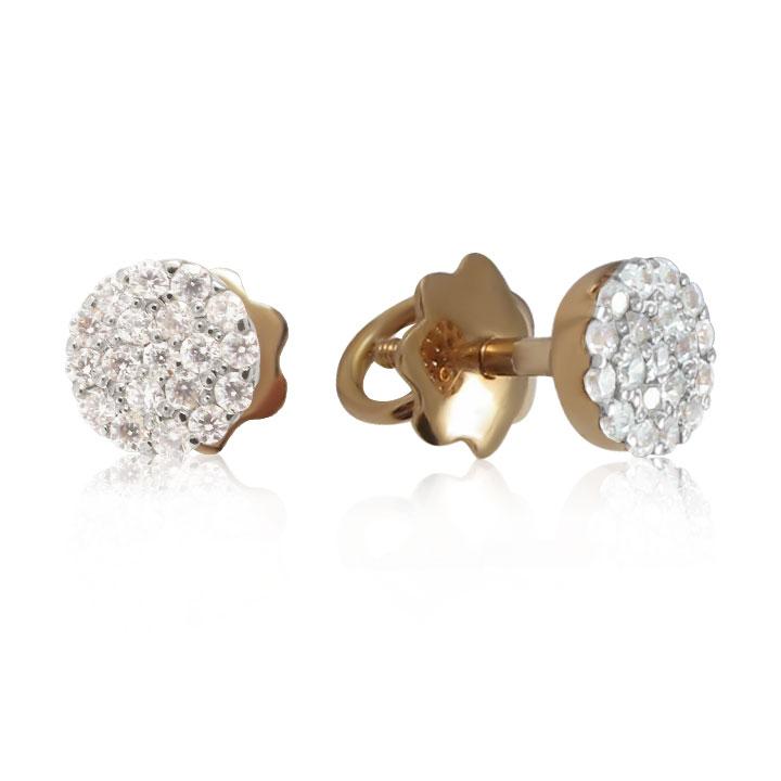 Золотые серьги-пусеты с цирконием «Cotton flower»