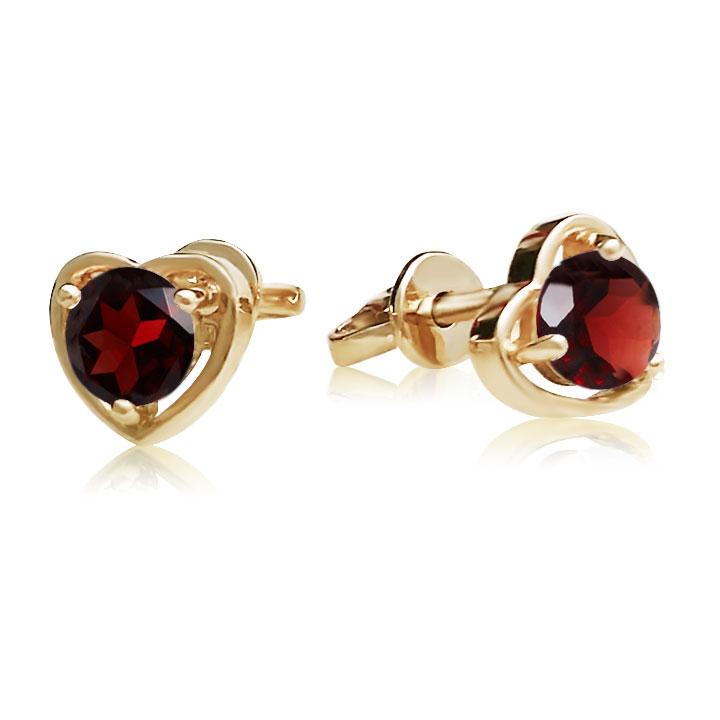 Золоті сережки гвоздики сердця з гранатами «Preferita»