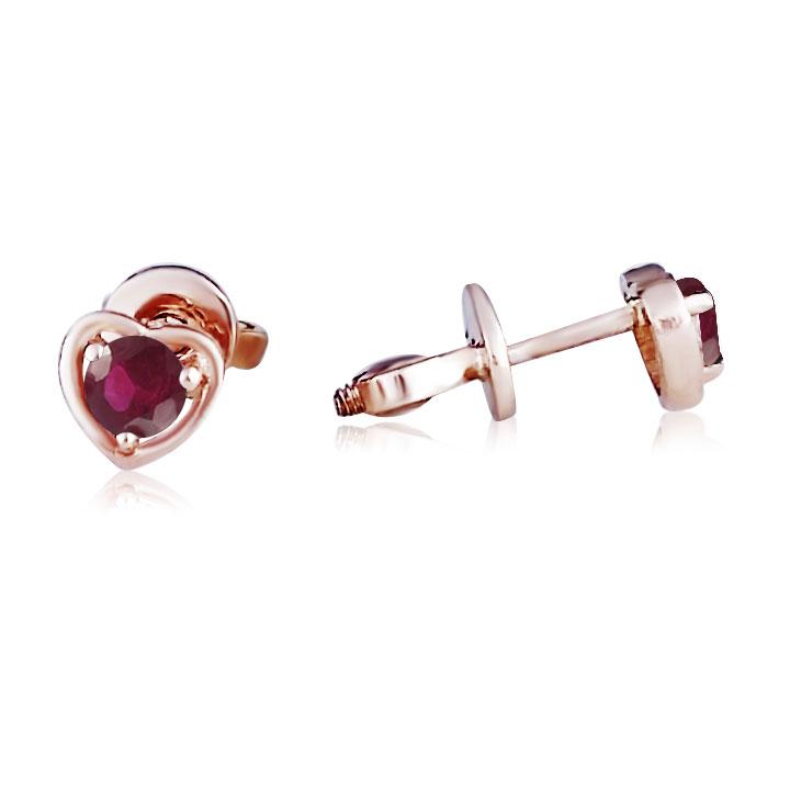 Золоті сережки-сердечка гвоздики з рубінами «Preferita»