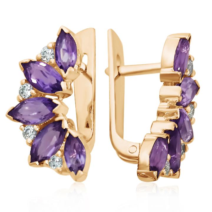 Золоті сережки з аметистами «Кімберлi»
