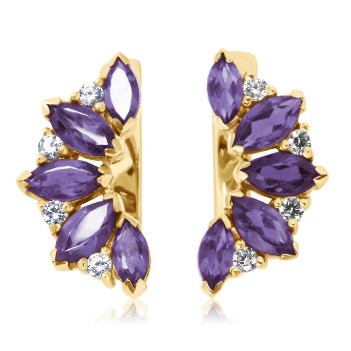 Золотые серьги с аметистами и кристаллами Сваровски «Кимберли»