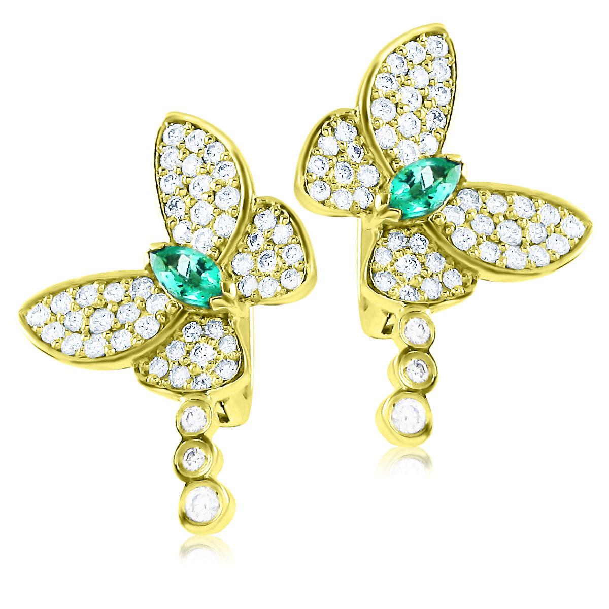 Золоті сережки з смарагдами і діамантами «Райські метелики»