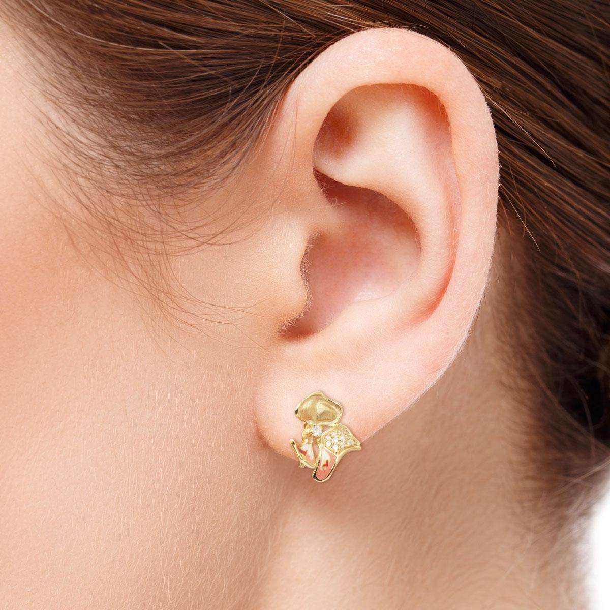 Золоті сережки з цирконієм й емаллю «Магнолія»