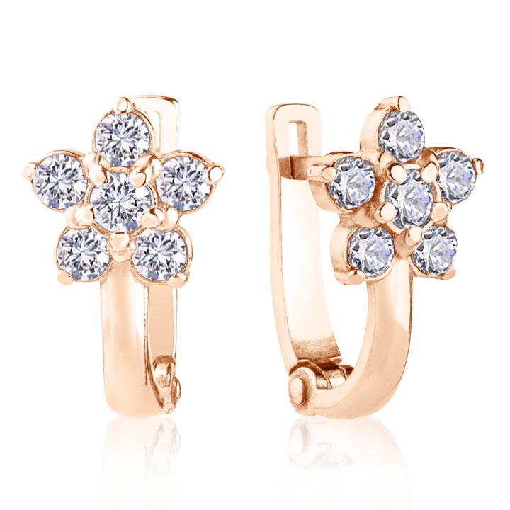 Золоті сережки - квіточки з фіанітами «Фіфа»