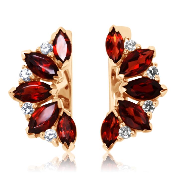 Золотые серьги с гранатами и кристаллами Сваровски «Кимберли»