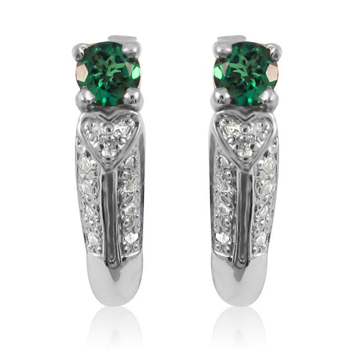 Золоті сережки з діамантами і смарагдами «Біле серце»