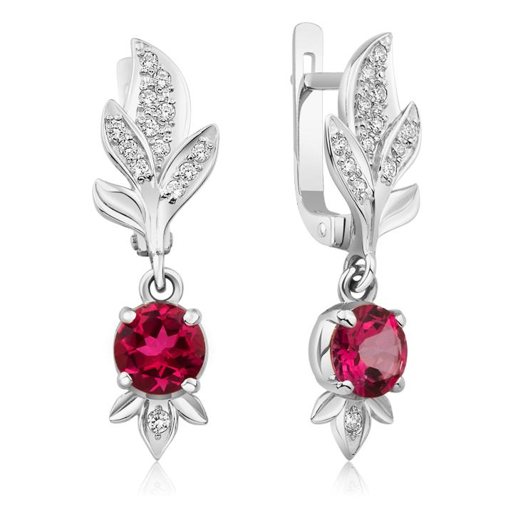 Вечірні сережки підвісками з рожевим топазом «Дивний сад»