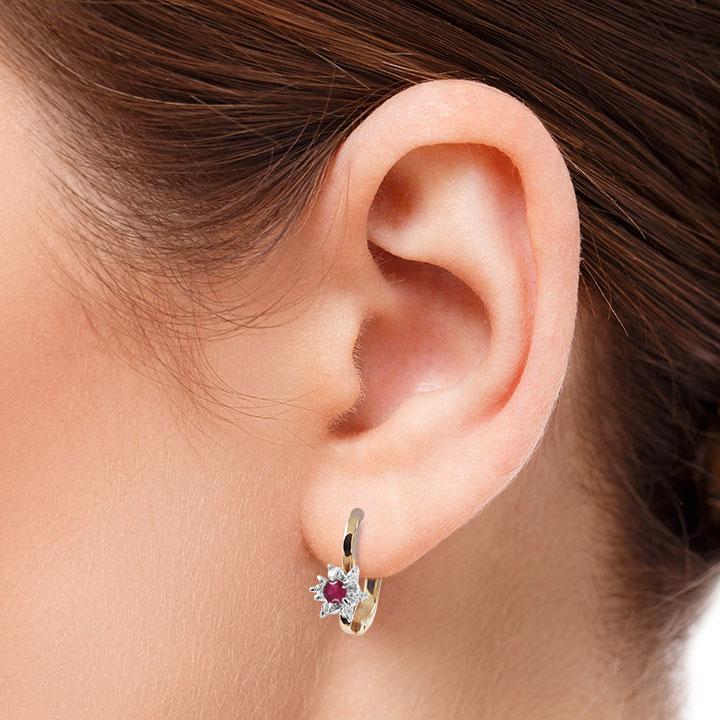 Золотые серьги с рубином и бриллиантами «Франсуаза»