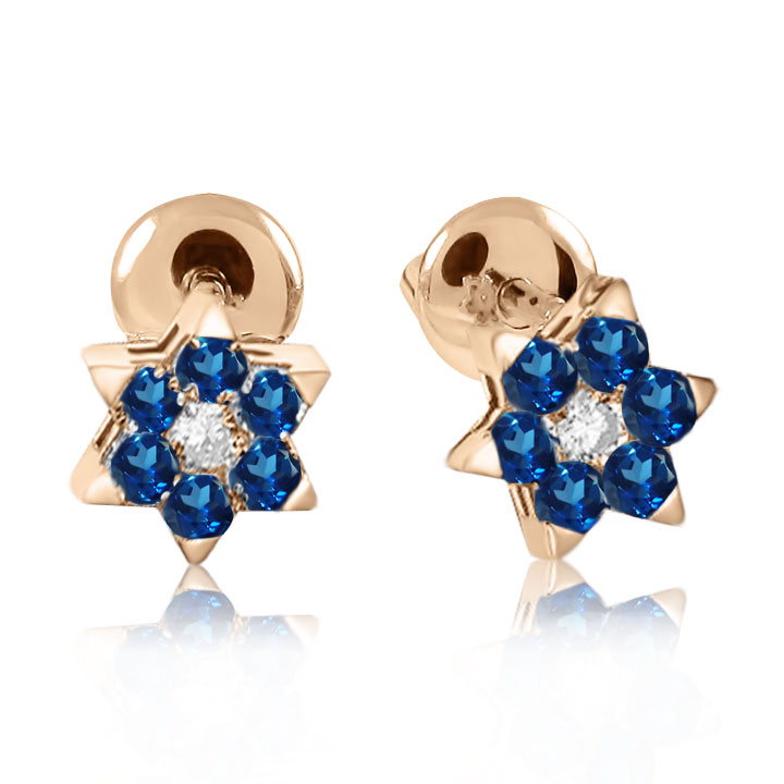Золоті гвоздики з сапфіром та діамантом «Зірка»