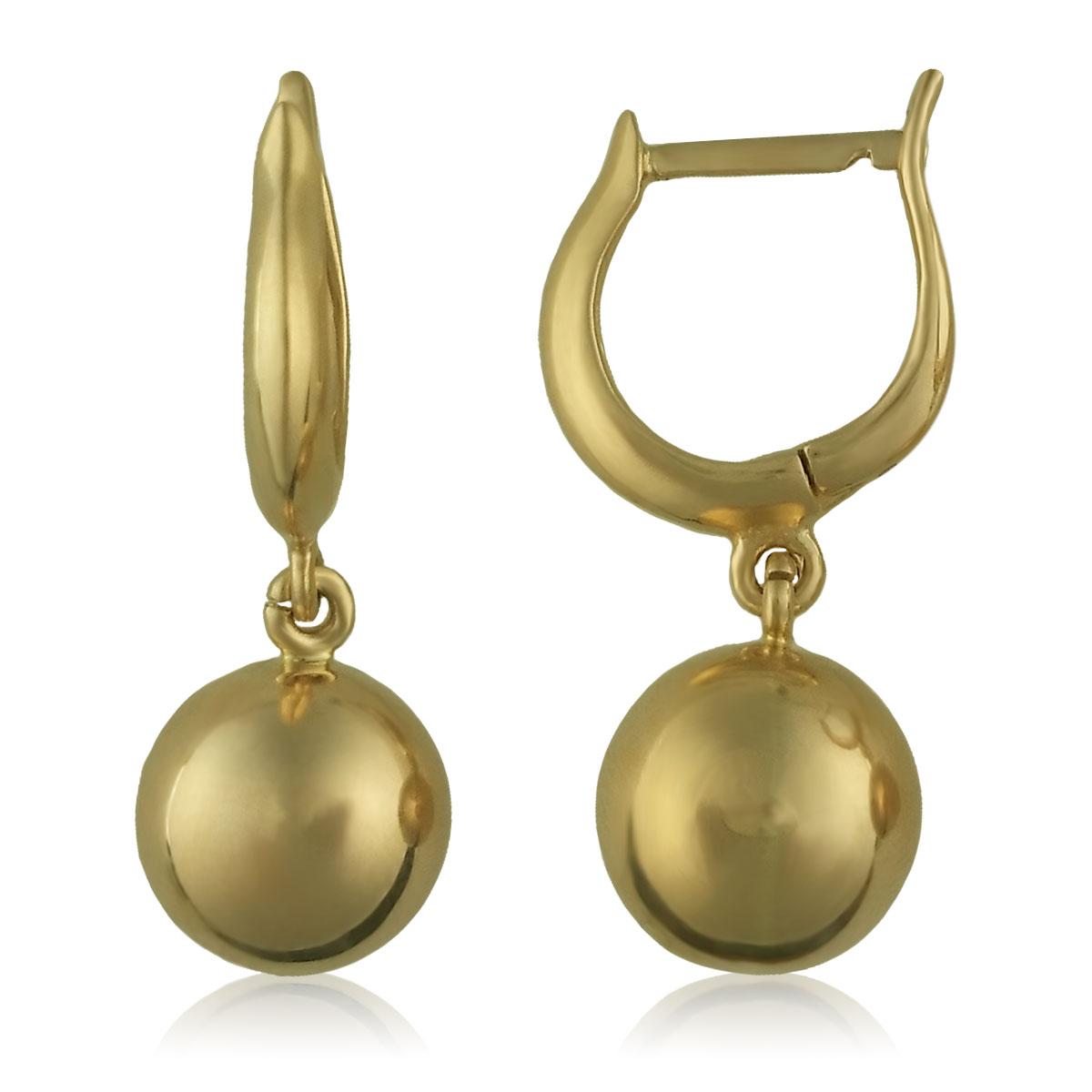 Золоті сережки без каменів «Кульки»