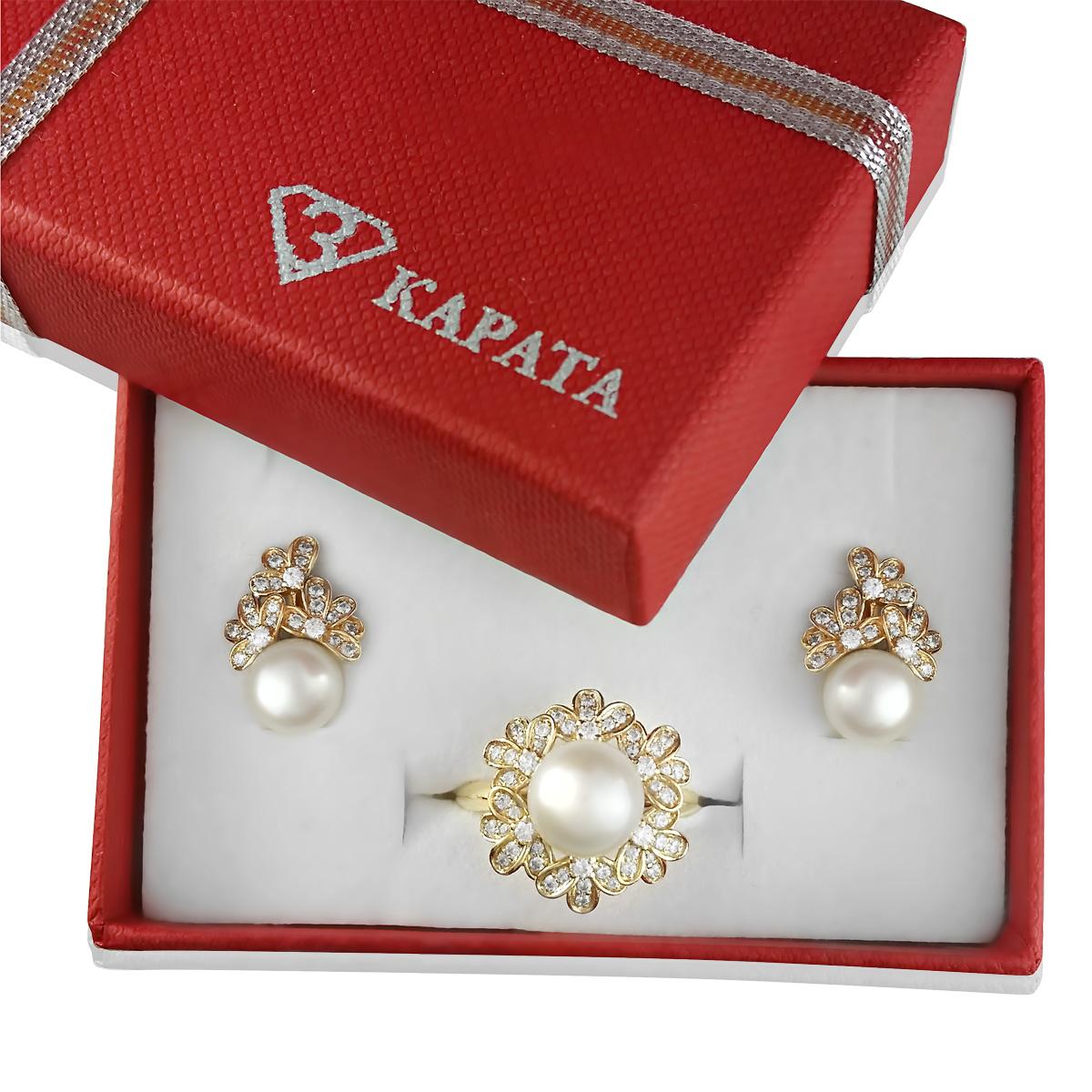 Золотий гарнітур з природними білими перлами «Марина»