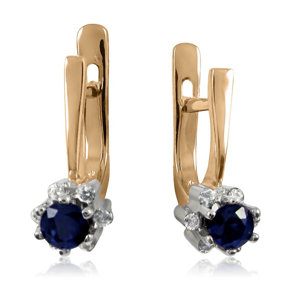 Золоті сережки з сапфірами і діамантами «Капітоліна»