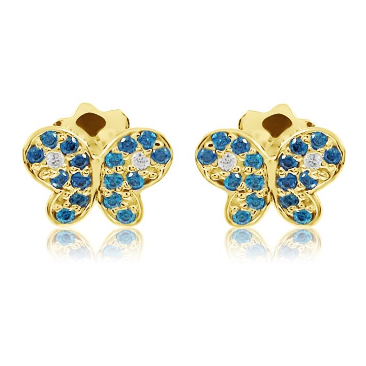 Золоті пусети з сапфірами і діамантом «Ніжні метелики»