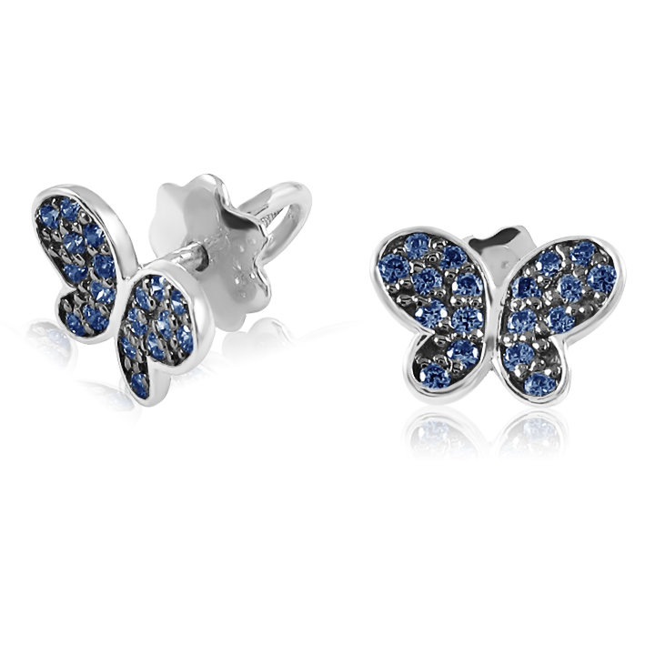 Сережки з чорним родієм і сапфірами «Ніжні метелики»