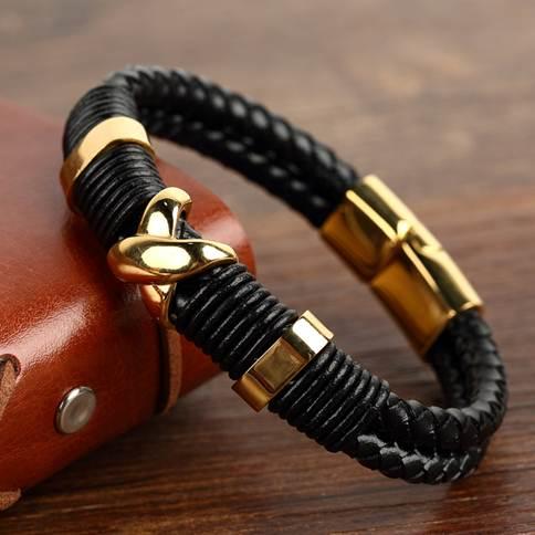Мужские золотые браслеты с кожей и каучуком, как тренд