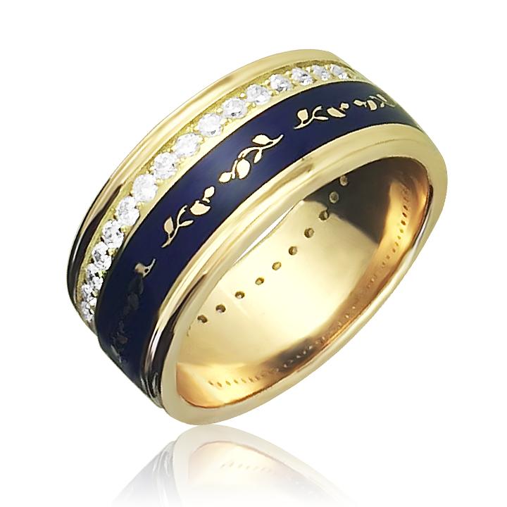 Золотое обручальное кольцо цирконий