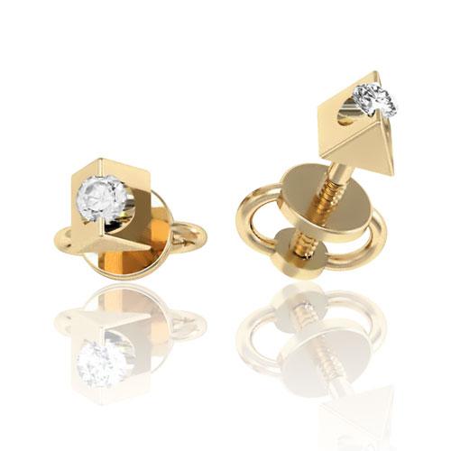 Золотые серьги-пусеты с бриллиантами 'Нежность'