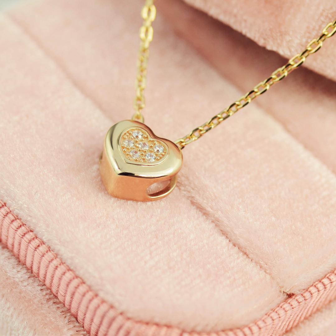 Золотий кулон сердечко з діамантами 'Beloved'