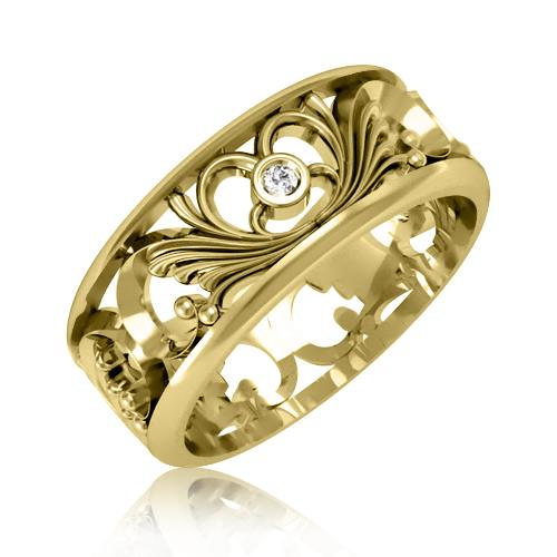 Обручальное кольцо цирконий