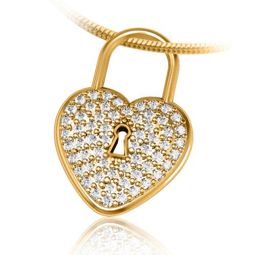 Золотой кулон сердце цирконий