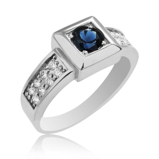 Золотой мужской перстень сапфир бриллианты
