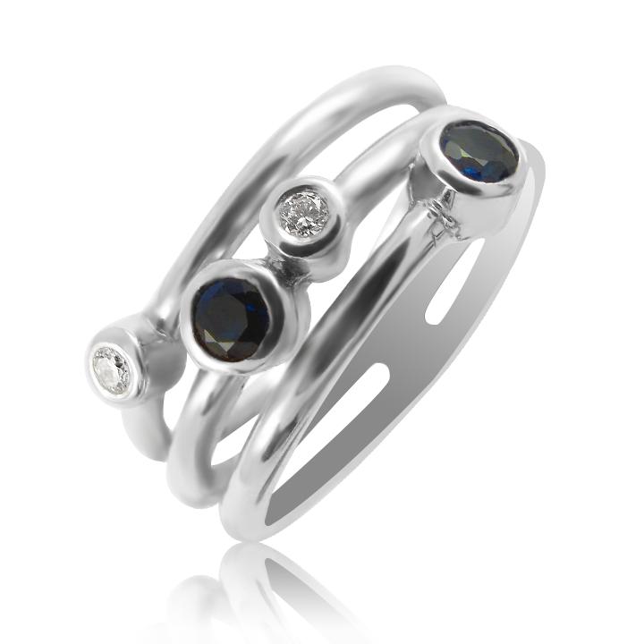 Золотое кольцо 'Idilia' с сапфирами и бриллиантами