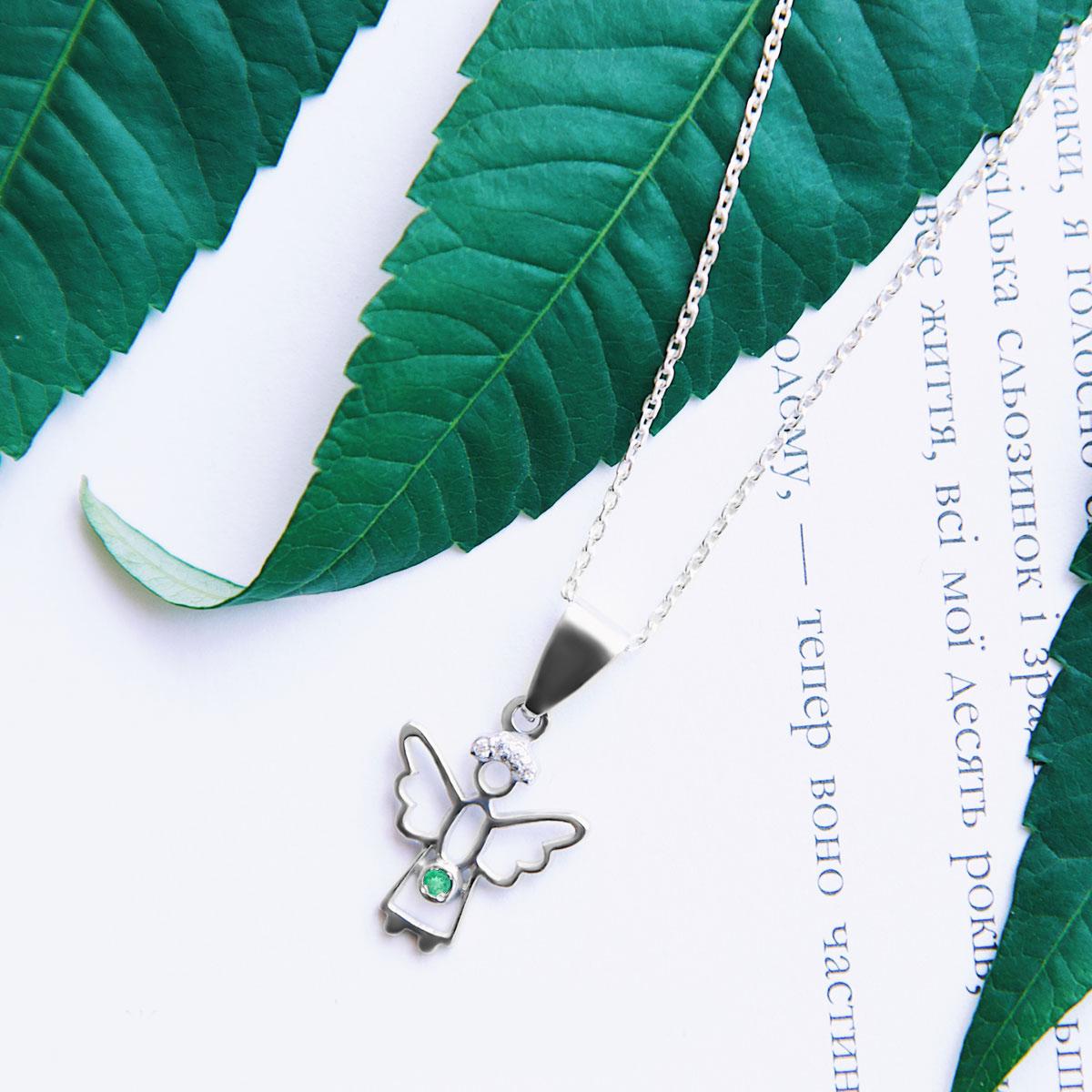 Кулон ангелок с изумрудом и бриллиантами 'Gentle angel'