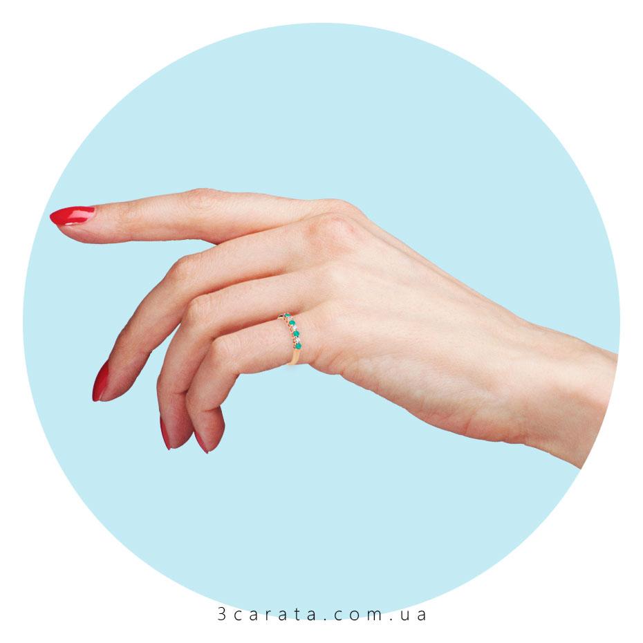 Кольцо с дорожкой из изумрудов и бриллиантов 'Мечта'