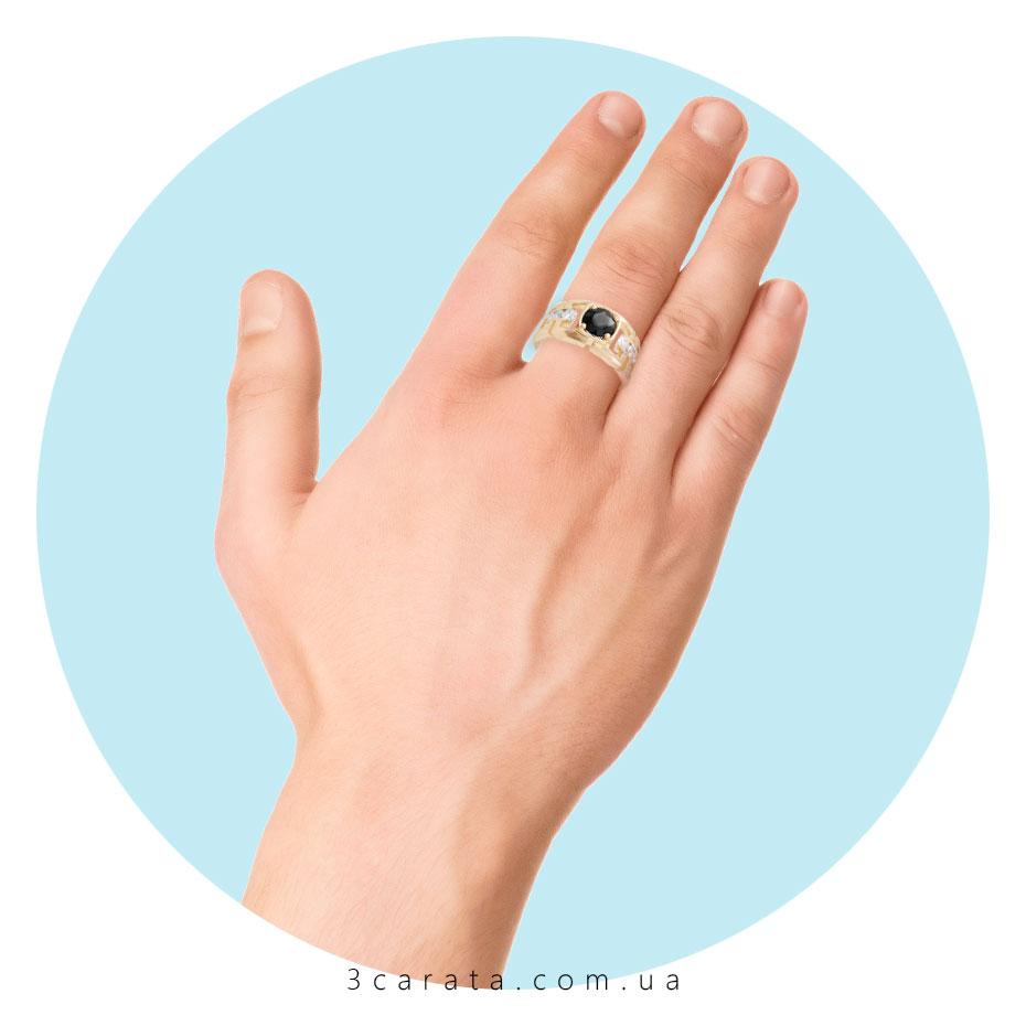 Золотой перстень с чёрным бриллиантом 'Фараон'